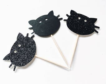 Glitter Kitty cupcake toppers