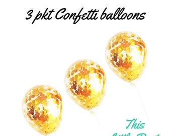 3 x Gold Confetti Balloons Party Decoration or Cake Topper