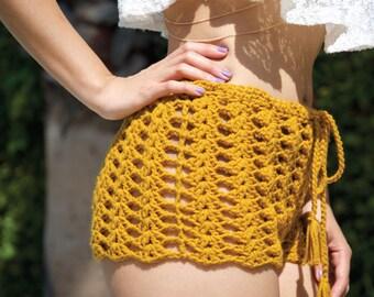 Crochet Shorts, Crochet Cover Up, Beach Cover up -- 'SPIRIT' Shorts