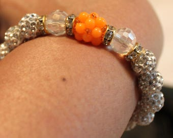 Beautiful Czech Crystal disco-ball Rhinestone-beaded bracelet; shamballa, beadweaving, handmade, orange, white, casual wear, party wear