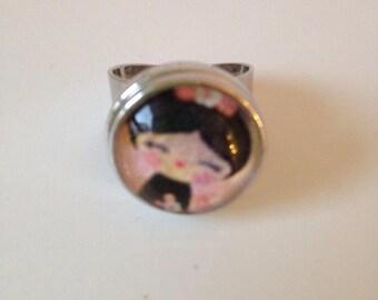 Adjustable ring, snap, Kokeshi kawaii cabochon