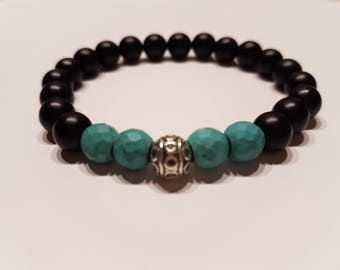 Matte Black Onyx Bracelet Men's Beaded Bracelet Gift for Him