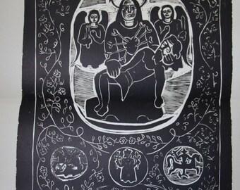 Rare complete portfolio of Viktoras Petravicius 37 original linocuts, created 1944-1949