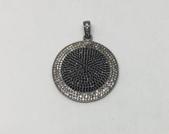 Pave white topaz &black spinal pendant