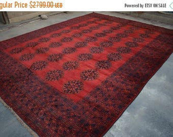 BIG SALE 14u00274 X 10u00279 Feet AFGHAN Wool Handmade Baluch ARea Rug
