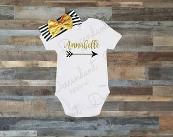 Personalized onesie, Girl onesie, Glitter onesie, girl outfit, personalized outfit, custom name, baby gift, hospital outfit take home outfit