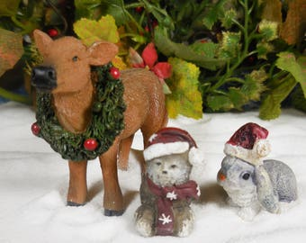 Christmas Barnyard Animal Fairy Garden Kit ~ 3PC Winter Forest Animal Figurines ~ Holiday Fairy Animals for Christmas Village & Home Decor