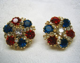 Vintage Red White Blue Prong Set Rhinestone Earrings