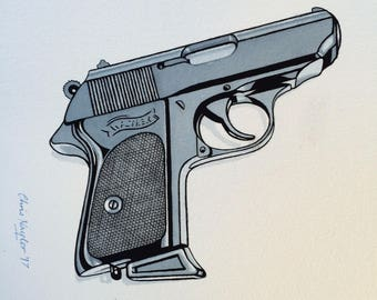 Limited edition Art Print of WALTHER PPK gun (James Bond) from the original watercolour/gouache painting by Chris Naylor