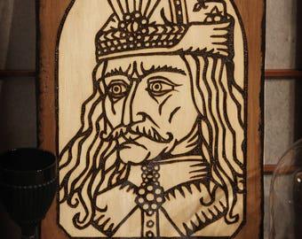 Vlad Tepes Dracula brand painting Pyrography