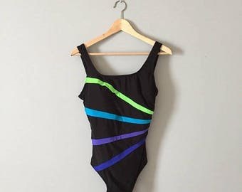 20% OFF SALE... neon pleats swimsuit || black one piece swimsuit with neon pleated stripes