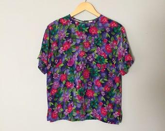 PANSIES silk blouse | 80s Liz Claiborne silk cropped top | neon pansies floral slouch silk top