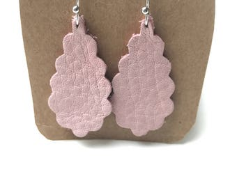 Pink Leather Scalloped Earrings - Lightweight!
