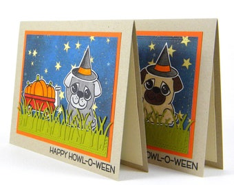 Pug Halloween Card, Pug Card, Halloween Card, Dog Halloween Card