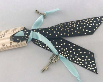 Ribbon Planner Ruler Gold and Aqua Keys Back To School Girly Home Office School Supplies Ready to Ship Badass Girls