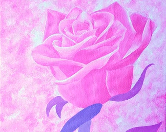 "Pink Rose Acrylic Painting, 6""x 6"" on Canvas Panel, Rose Artwork, Flower Painting, Original Art, Floral Decor, Rose Home Decor"
