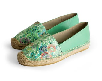 CAMPING GREEN BEACH - Espadrille, Sandal, womens shoes, leather, green color, flat shoes, jute, spring summer, Special offer, Nogueron