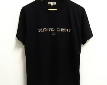 RARE!!! Valentino Christy Sport Big Logo Embroidery Multicolour Crew Neck Black Colour T-Shirts M Size