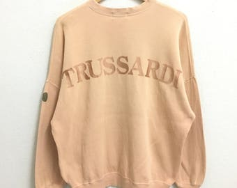 RARE!!! TRUSSARDI Big Logo Embroidery SpellOut Crew Neck Peach Colour Sweatshirts Hip Hop Swag L Size