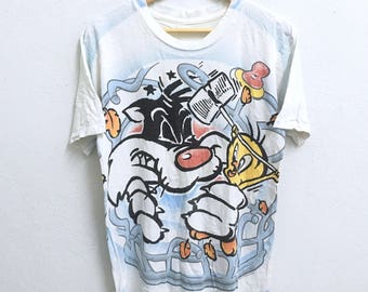 RARE!!! Tweety Cartoon By Warner Bros Big Logo Crew Neck Fullprint Design T-Shirts M Size