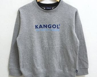 RARE!!! KANGOL Big Logo Crew Neck Grey Colour Sweatshirts Hip Hop Swag LL (Boys) Size