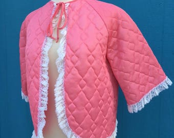 1950s pink satin and lace bed jacket/pinup/lingerie/jayne mansfield/man men/mamie van doren/playboy