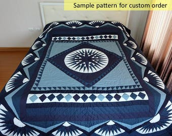 Complex Star Quilt, The Compass of Ocean, King /Queen Size Quilts, Amish quilt, Amish patchwork, Homemade quilt, Hand Quilted, Quilt on sale