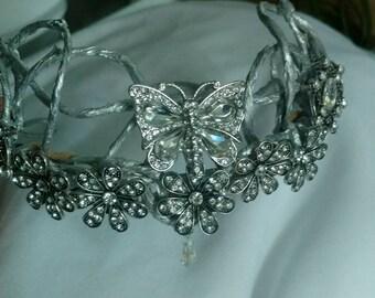 Headpiece- Silver Crown- Wedding- Fantasy- Elven- Fairy- Tiara