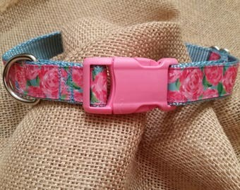 Lily Pulitzer Dog Collar w/ name embroidered, Boutique Dog Collar, Personalized, Monogram Included