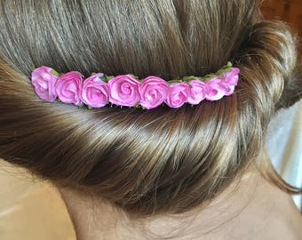 Pink bridal decorative comb, mulberry paper flowers, Bridesmaid hair comb, wedding hair comb, decorative comb, flower girl hair piece,