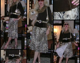 Vintage 1990's velvet and stretch jersey mix animal print split-2-the-waist skirt by Harry Who (m/in Aust.) ft. gold braid trim size: small