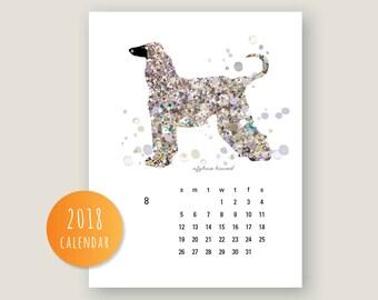 2018 Dog Calendar, Printable 2018 Calendar Dog wall art Dog wall calendar 2018 Monthly Calendar (#424)