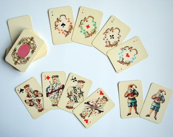 Vintage Miniature Playing Cards, Russian Rococo Style, Soviet Cards Games, Paper Ephemera, Deck of 54 Cards, French Suits, Made in USSR 80s