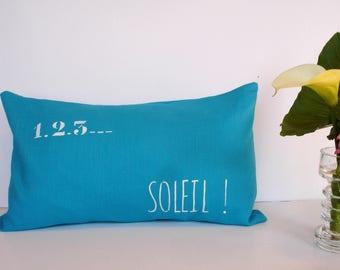 "Rectangular Cushion cover, washed linen turquoise blue, custom ""1.2.3 Sun!"""