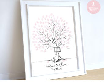 fingerprint tree, wedding guest book, thumb print guest book, wedding tree, guest book, fingerprint guest book, tree guest book personalised