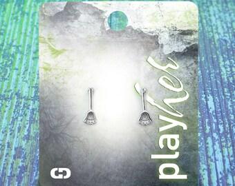 Silver Lacrosse Stick Post Earrings - Great Lacrosse Gift! Free Shipping!
