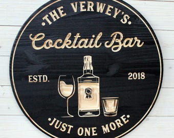 Cocktail Bar, Bar Signs, Bar Sign,  Personalized Bar Sign, Rustic, Personalized Cocktail Signs, Bar Decor, Man Cave, Bar, Cocktail Lounge