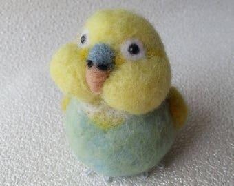 Yellow Budgie, Needle felted Budgie, Parakeet, Budgerigar, Parrot, Pet birds, Bird ornament
