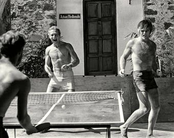 Paul Newman and Robert Redford Play Ping Pong in Mexico While Filming Butch Cassidy and the Sundance Kid - 5X7, 8X10 or 11X14 Photo (BB-973)