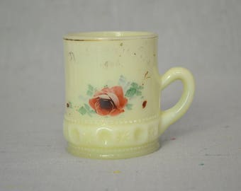 Vintage Custard Glass mug with lovely hand painted rose