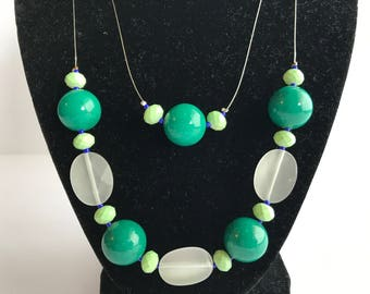 Green and White necklace, Green and White Double Layered Necklace, Floating Beaded Necklace, Green Floating Necklace