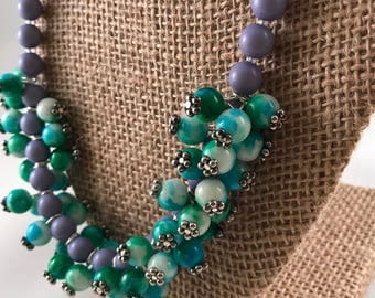 Blue, Green and Purple Beaded Necklace, Beaded Statement Necklace, Cluster Necklace, Beaded Necklace,