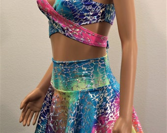 2PC Sparkly Foil Rainbow Print (top and skirt set)