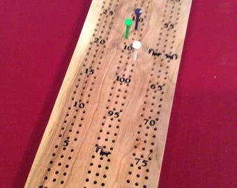 Handmade Cherry Wood Cribbage Board