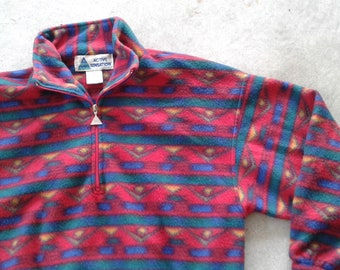 Vintage 90's ACTIVE SENSATION Polar Fleece Zip Up Pullover Sweater Colourful Aztec/Abstract Design large