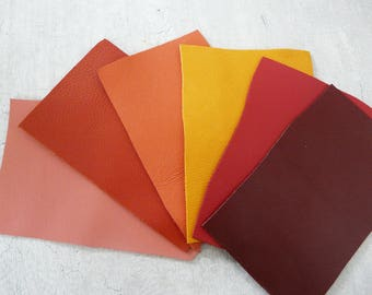 set of 6 pieces of leather red orange leather