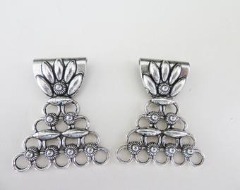 set of 2 bails MULTISTRAND silver metal