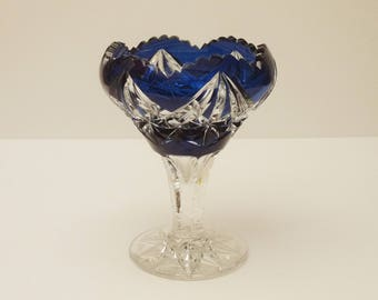 french Hand Cut Clear and Blue Crystal Stemmed Candy Dish by Val Saint Lambert Circa 1950 s