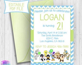 Blue Looney Tunes Birthday Invitation - Editable PDF - Bugs Bunny Lola Bunny Tweety Birthday Invite - INSTANT DOWNLOAD 012