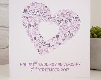 Personalised 1st Anniversary Card, Wedding Anniversary Card, Special Card, Personalised Anniversary Card